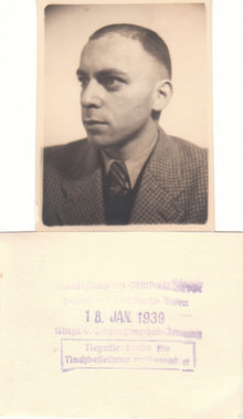 Martin Ansbacher's  photo 18 January 1939 after release from Dachau KZ