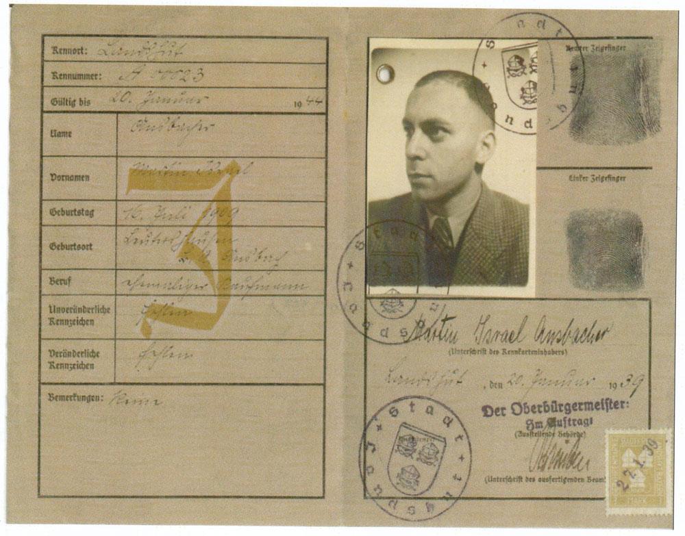 Martin Israel Ansbacher Kenkart (ID Card) 1939