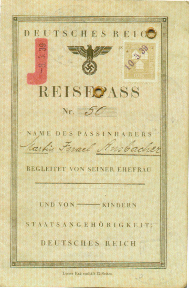 Martin Israel Ansbacher's Passport issued 8th March 1939