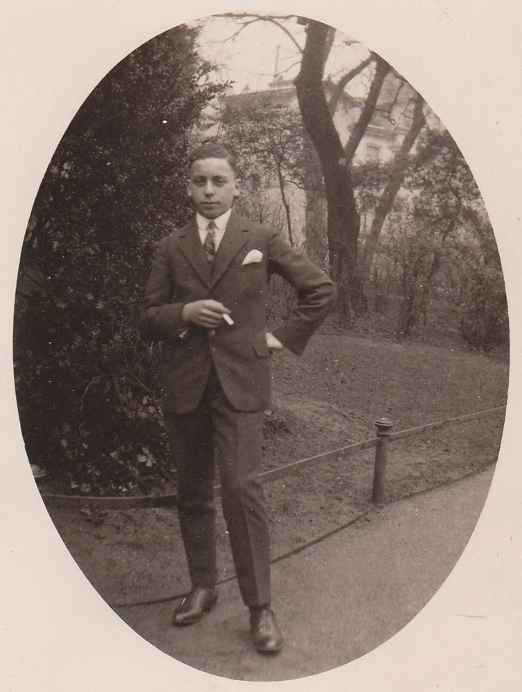 Martin Anson as a young man smartly dressed in suit c1930